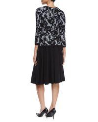 ESCADA - Black 3/4-sleeve Floral Intarsia Pullover Top - Lyst