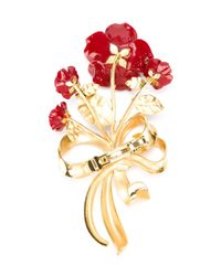 Dolce & Gabbana - Metallic Rose Bouquet Brooch - Lyst