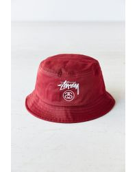 e5f3f778c00 Lyst - Stussy Stock Lock Bucket Hat in Red for Men