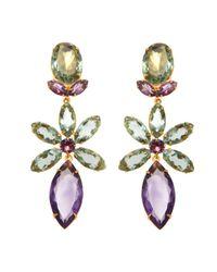 Bounkit   Metallic Amethyst Flower Drop Earrings   Lyst