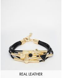 ASOS | Black Leather Cord Bracelet Stack | Lyst