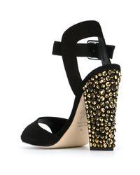 Giuseppe Zanotti - Black Crystal-Heeled Sandals - Lyst