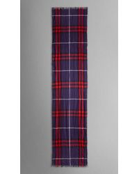 Burberry - Blue Check Wool Cashmere Crinkled Scarf for Men - Lyst