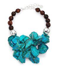 Nest - Blue Turquoise Jasper & Ebony Wood Cluster Beaded Statement Necklace - Lyst