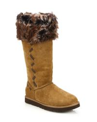 Ugg | Brown Rosana Suede & Shearling Knee Boots | Lyst