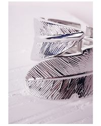 Missguided - Metallic Leaf Detail Cuff Silver - Lyst