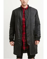 Forever 21 | Black Zippered Longline Bomber Jacket for Men | Lyst