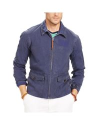 Polo Ralph Lauren | Blue Cotton Canvas Flight Jacket for Men | Lyst