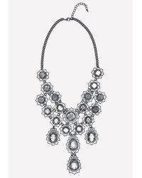 Bebe - Black Filigree & Crystal Necklace - Lyst
