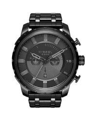 DIESEL - Black 'stronghold' Chronograph Bracelet Watch for Men - Lyst