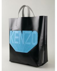 KENZO - Black Logo Patch Tote for Men - Lyst