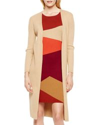 Vince Camuto | Natural Ribbed Long Sleeved Duster | Lyst