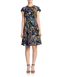 Etro - Black Paisley-Print Flounce Dress - Lyst
