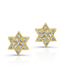 Anne Sisteron | 14kt Yellow Gold Jewish Star Stud Earrings | Lyst