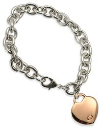 Guess | Pink Two-tone Heart Charm Link Bracelet | Lyst