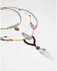 ASOS | Multicolor Multirow Seedbead & Tusk Choker Necklace | Lyst
