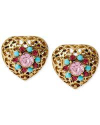 Betsey Johnson - Metallic Gold-Tone Filigree Heart Stud Earrings - Lyst