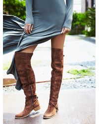 Free People | Brown Amorosa Suede Over The Knee Boot | Lyst