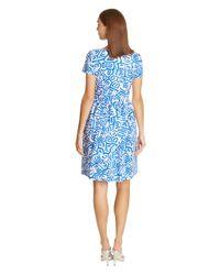 Oscar de la Renta | Blue Abstract Shapes Stretch Cotton Dress | Lyst