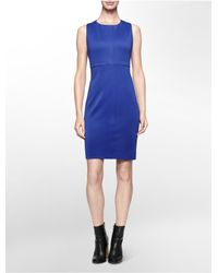 Calvin Klein | Blue Seamed Sleeveless Sheath Dress | Lyst