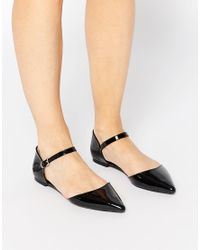 ASOS - Black Late Night Pointed Ballet Flats - Lyst