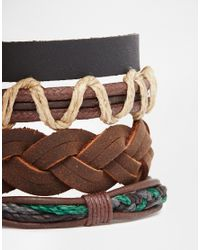 ASOS - Bracelet Pack In Black And Brown Leather for Men - Lyst