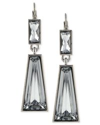 Vince Camuto | Metallic Silver-Tone Crystal Drop Earrings | Lyst