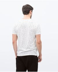 Zara | White Micro-pattern T-shirt for Men | Lyst