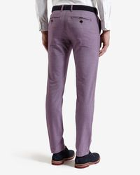 Ted Baker - Purple Slim Fit Cotton Twill Pants for Men - Lyst