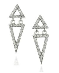 Lord & Taylor | Metallic Sparkling Sterling Silver Triangle Drop Earrings | Lyst
