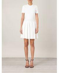 Alexander McQueen - White Pleated Mini Dress - Lyst