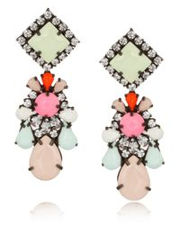 Shourouk | Pink Gunmetal Tone Painted Crystal Earrings | Lyst