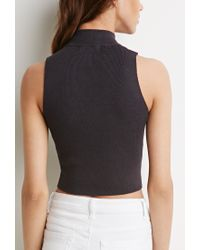Forever 21 | Gray Mock-neck Cropped Sweater | Lyst