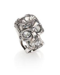 Alexander McQueen | Metallic Poppy Skull Ring | Lyst