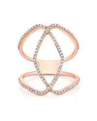 Anne Sisteron - Pink 14kt Rose Gold Diamond Edgy Cigar Band Ring - Lyst