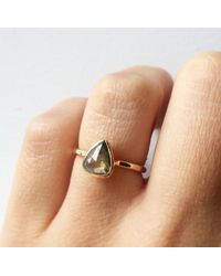 Melissa Joy Manning | Metallic .98 Carat Clear Grey Pear Shape Diamond Ring | Lyst