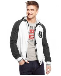 Armani Jeans | Gray White Logo Varsity Jacket for Men | Lyst