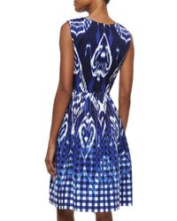 Oscar de la Renta - Blue Ikat Gingham Fit-And-Flare Dress - Lyst