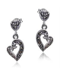 Aeravida | Metallic Curvy Heart Marcasite Encrusted .925 Silver Earrings | Lyst