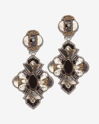 Ranjana Khan - Embellished Statement Earrings: Black - Lyst