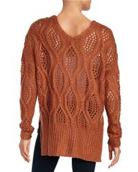 Lord & Taylor | Brown Loose Knit Sweater | Lyst