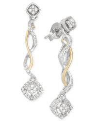 Macy's - Metallic Diamond Twisted Linear Drop Earrings (1/10 Ct. T.w.) In 14k Gold And Sterling Silver - Lyst