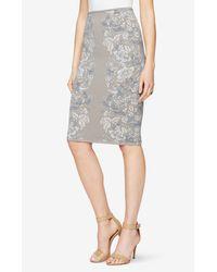 BCBGMAXAZRIA | Gray Floral Knit Jacquard Pencil Skirt | Lyst