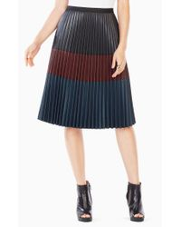BCBGMAXAZRIA - Black Elsa Pleated Faux-leather Skirt - Lyst
