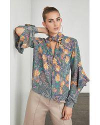 BCBGMAXAZRIA - Blue Jade Long-sleeve Floral Top - Lyst