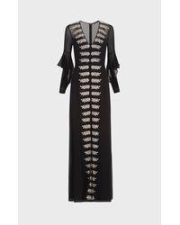 BCBGMAXAZRIA - Black Beverle Embroidered Silk Gown - Lyst