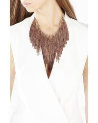 BCBGMAXAZRIA | Metallic Lattice Woven Chain Fringe Necklace | Lyst