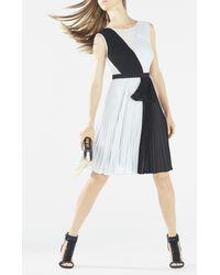 BCBGMAXAZRIA | Black Bailie Pleated Color-blocked Dress | Lyst