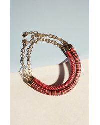 BCBGMAXAZRIA Red Beaded Chain Necklace