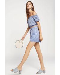 BCBGeneration - Blue Striped Cotton Paperbag Short - Lyst